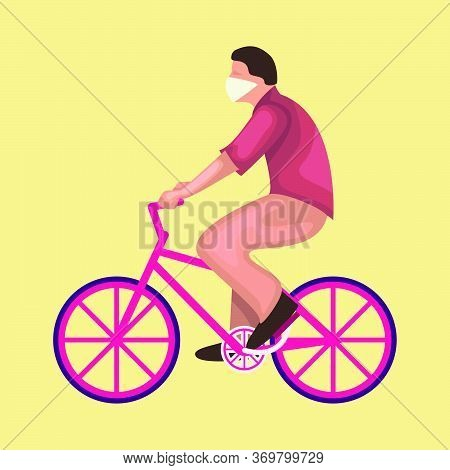 Relaxed Man Wear Mask Riding A Bicycle Flat Illustration. New Normal After Covid-19. New Normal Conc