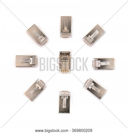 Ethernet Rj45 Connector, For Modular Crimp Cable Connection With Isolated On White Background. Close