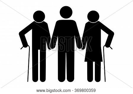 Silhouette Of Old Husband And Wife With Son. Image Of Grandparents With Son. Vecton Image. Stock Pho