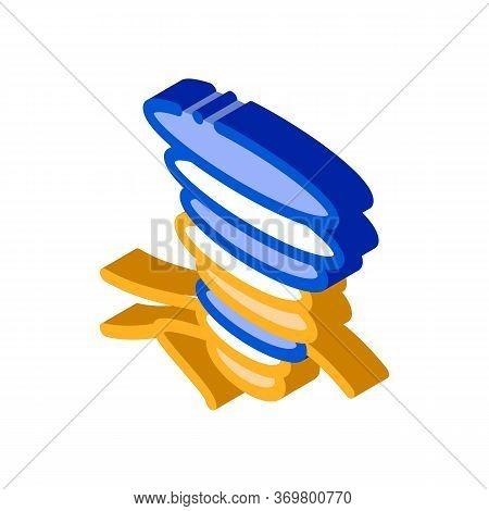 Tornado Field Icon Vector. Isometric Tornado Field Isometric Sign. Color Isolated Symbol Illustratio