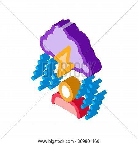 Rainy Cloud Man Icon Vector. Isometric Rainy Cloud Man Isometric Sign. Color Isolated Symbol Illustr