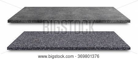Side View Of Asphalt Straight Street Roadway Texture Surface Of Lanes Isolated On White Background.