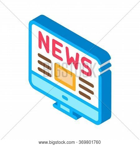 Worldwide News Icon Vector. Isometric Worldwide News Isometric Sign. Color Isolated Symbol Illustrat