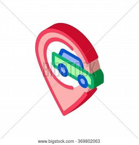 Car Gps Map Mark Icon Vector. Isometric Car Gps Map Mark Isometric Sign. Color Isolated Symbol Illus