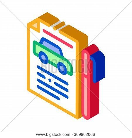 Car Buy Agreement Icon Vector. Isometric Car Buy Agreement Isometric Sign. Color Isolated Symbol Ill