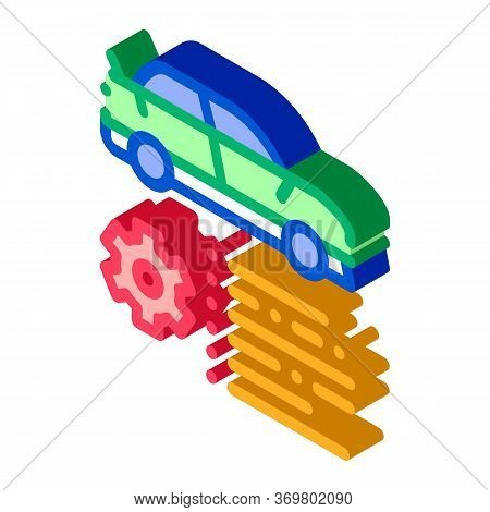 Car Feature Gear Icon Vector. Isometric Car Feature Gear Isometric Sign. Color Isolated Symbol Illus