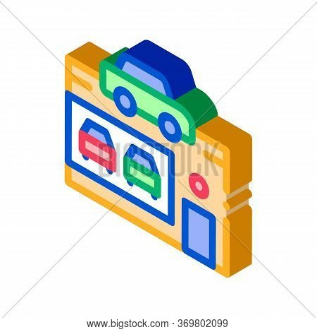 Car Dealer Shop Icon Vector. Isometric Car Dealer Shop Isometric Sign. Color Isolated Symbol Illustr