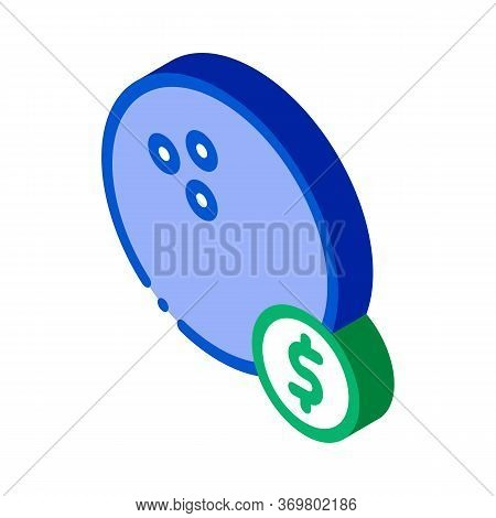 Bowling Ball Coin Icon Vector. Isometric Bowling Ball Coin Isometric Sign. Color Isolated Symbol Ill