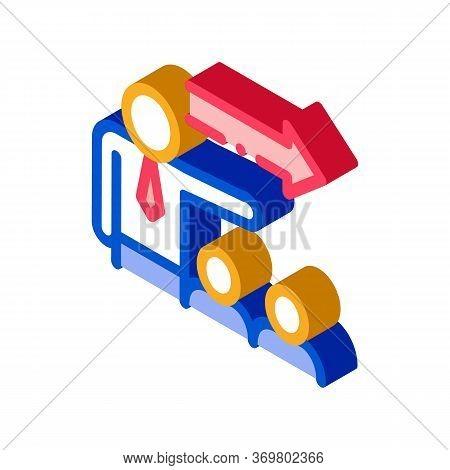 Human Show Arrow Icon Vector. Isometric Human Show Arrow Isometric Sign. Color Isolated Symbol Illus