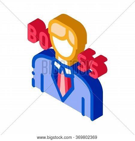 Boss Silhouette Icon Vector. Isometric Boss Silhouette Isometric Sign. Color Isolated Symbol Illustr