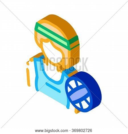 Woman Volleyball Player Icon Vector. Isometric Woman Volleyball Player Sign. Color Isolated Symbol I