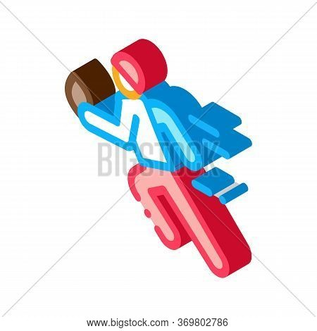 Rugby Player In Motion Icon Vector. Isometric Rugby Player In Motion Sign. Color Isolated Symbol Ill