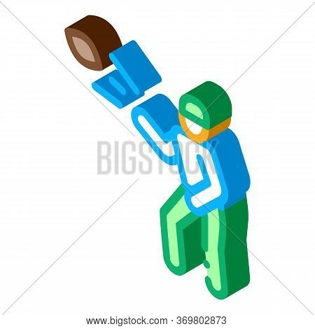 Rugby Player Throws Ball Icon Vector. Isometric Rugby Player Throws Ball Sign. Color Isolated Symbol