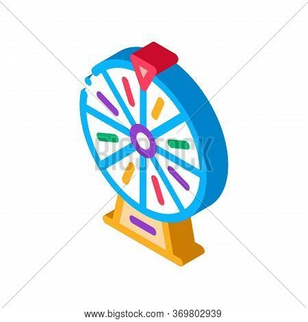 Wheel Of Fortune Icon Vector. Isometric Wheel Of Fortune Sign. Color Isolated Symbol Illustration