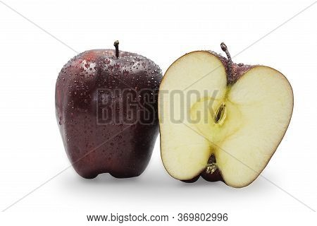 Fresh Whole And Half Organic Red Delicious Apples With Water Drop On White Isolated Background, Clip