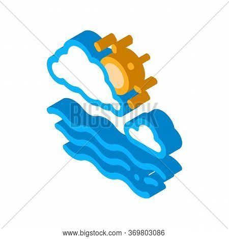 Cloudy Weather On Sea Icon Vector. Isometric Cloudy Weather On Sea Sign. Color Isolated Symbol Illus