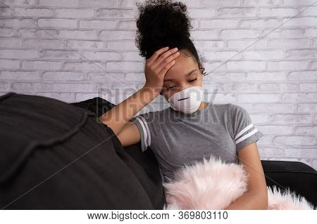 Female Teen Suffering From A Depression, During  Pandemic,. Tension And Stress, Somnolence Concept.