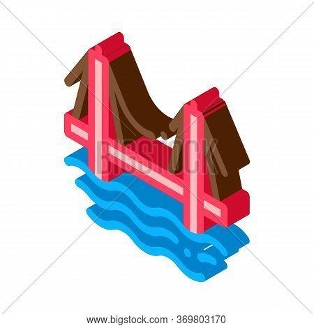Sea Bridge Icon Vector. Isometric Sea Bridge Sign. Color Isolated Symbol Illustration