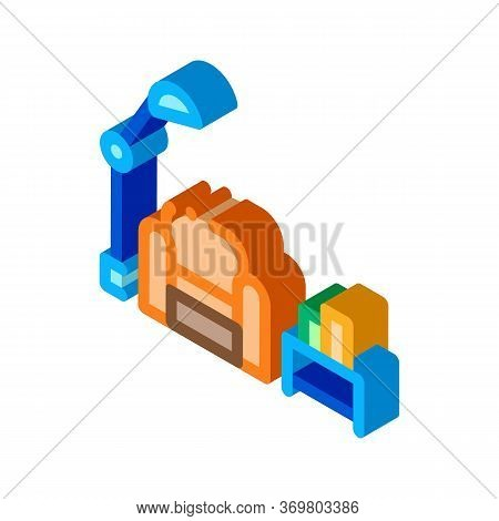 Reading Place With Lamp Icon Vector. Isometric Reading Place With Lamp Sign. Color Isolated Symbol I