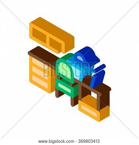 Workplace With Lamp Icon Vector. Isometric Workplace With Lamp Sign. Color Isolated Symbol Illustrat