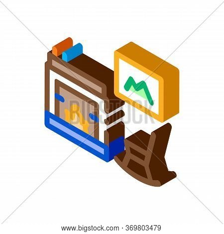 Rocking Chair Near Fireplace Icon Vector. Isometric Rocking Chair Near Fireplace Sign. Color Isolate