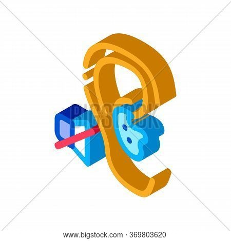 Lack Of Hearing Deafness Icon Vector. Isometric Lack Of Hearing Deafness Sign. Color Isolated Symbol