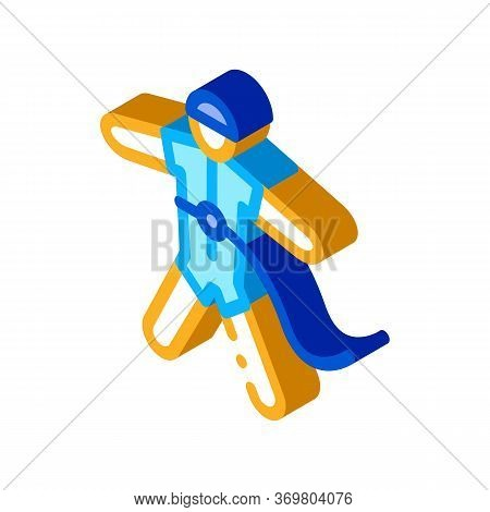 Skydiver With Insurance Icon Vector. Isometric Skydiver With Insurance Sign. Color Isolated Symbol I