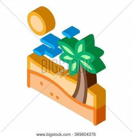 Palm Desert Icon Vector. Isometric Palm Desert Sign. Color Isolated Symbol Illustration