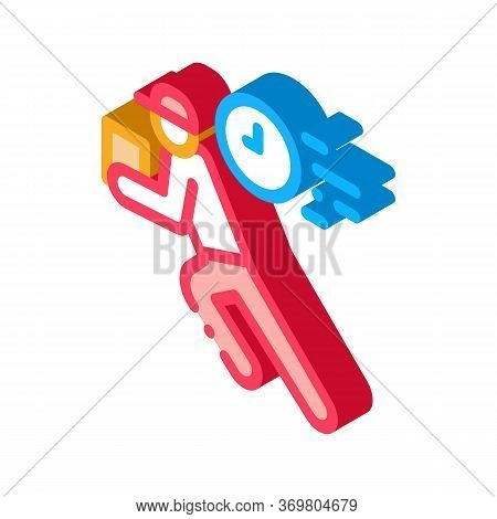 Delivery Express Courier Icon Vector. Isometric Delivery Express Courier Sign. Color Isolated Symbol
