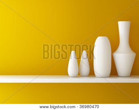 Interior Of Orange Wall  And Ceramic On Shelf Decorated, 3D Rendering