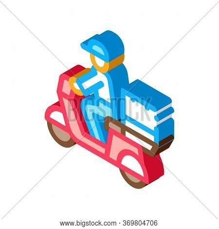 Courier Delivery On Motorcycle Icon Vector. Isometric Courier Delivery On Motorcycle Sign. Color Iso