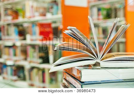 Opened Book In Library Close Up
