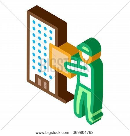 Courier With Box Near High-rise Building Icon Vector. Isometric Courier With Box Near High-rise Buil