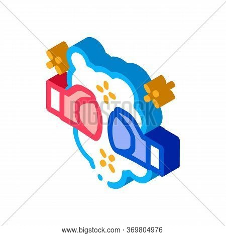 Fist Punch Fight Icon Vector. Isometric Fist Punch Fight Sign. Color Isolated Symbol Illustration