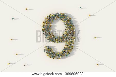 Large Group Of People Forming Number Nine, 9, Alphabet Text Character In Social Media And Community