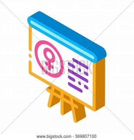 Blackboard Female Icon Vector. Isometric Blackboard Female Sign. Color Isolated Symbol Illustration