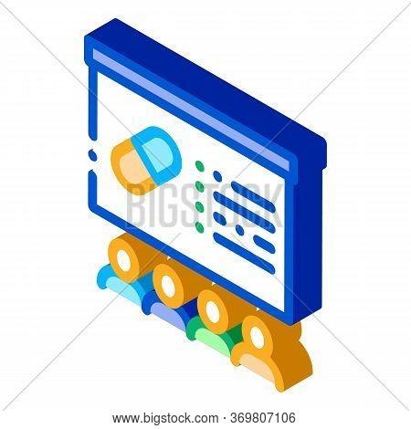 Pills Blackboard Icon Vector. Isometric Pills Blackboard Sign. Color Isolated Symbol Illustration