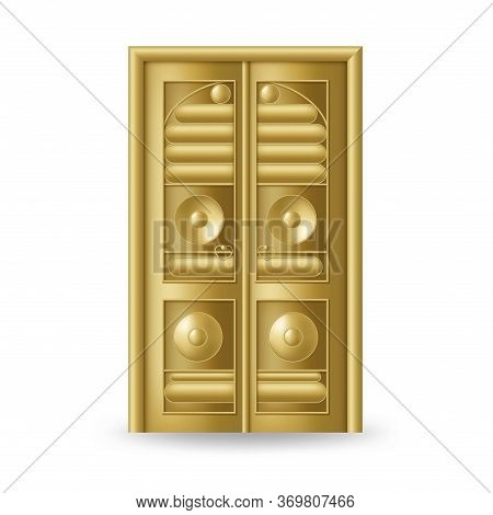 Kaaba Golden Door Icon. Realistic Gold Design
