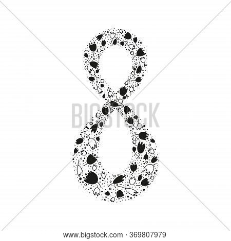 Ornamental Tulips Decorated With Eight. Black And White Illustration. Perfect For Cards, Posters, Fl
