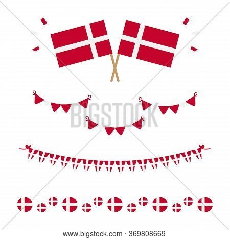 Set, Collection Of Flags, Borders And Garlands For Flag Day In Denmark And Other Danish National Hol