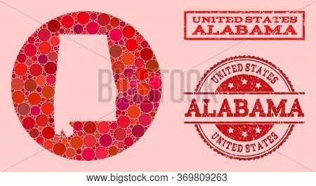 Vector Map Of Alabama State Collage Of Round Dots And Red Grunge Stamp. Stencil Circle Map Of Alabam