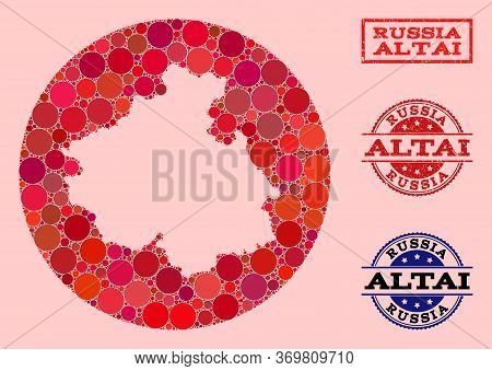 Vector Map Of Altai Republic Collage Of Round Dots And Red Grunge Seal. Stencil Round Map Of Altai R