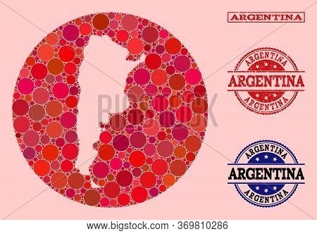 Vector Map Of Argentina Collage Of Circle Elements And Red Grunge Seal Stamp. Stencil Circle Map Of