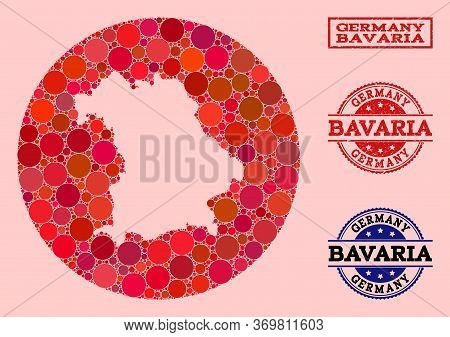 Vector Map Of Bavaria State Collage Of Circle Dots And Red Scratched Stamp. Stencil Circle Map Of Ba