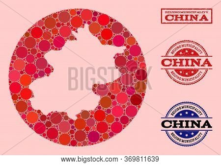 Vector Map Of Beijing Municipality Collage Of Circle Items And Red Grunge Seal. Subtraction Circle M