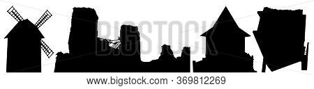 Silhouettes Of Building Of Belarus (windmill, Ruins, Castle, Upside Down House). Vector Illustration