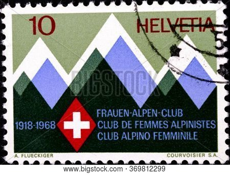 02 08 2020 Divnoe Stavropol Territory Russia The Postage Stamp Switzerland 1968 Events 50th Annivers