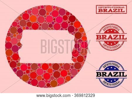 Vector Map Of Brazil - Distrito Federal Collage Of Circle Items And Red Rubber Stamp. Stencil Circle