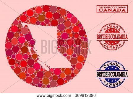 Vector Map Of British Columbia Province Collage Of Round Elements And Red Rubber Stamp. Hole Round M