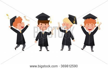 Boys Characters Wearing Academic Dresses Or Gown And Square Academic Cap Cheering About Graduation C